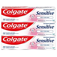 Colgate Sensitive Whitening Toothpaste for Sensitive Teeth, Enamel Repair and Cavity Protection, Fresh Mint Gel - 6 ounce (3 Pack)