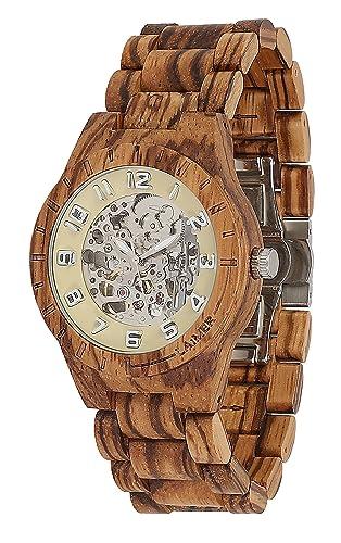 ea67b7779540 Laimer Reloj Analogico para Hombre de Automático con Correa en Madera 97   Amazon.es  Relojes