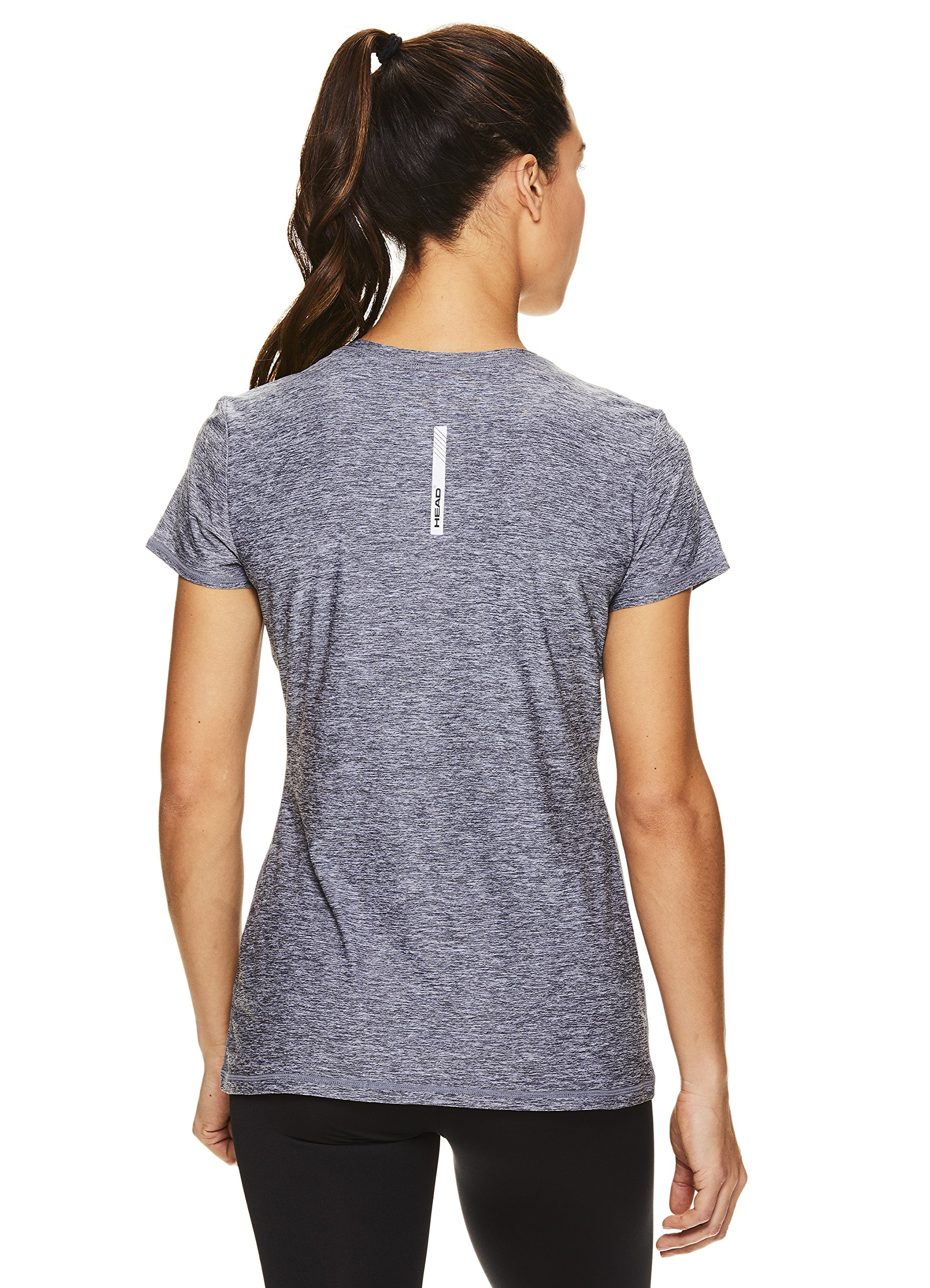HEAD Women's High Jump Short Sleeve Workout T-Shirt - Performance V-Neck Activewear Top - Medium Grey Heather, X-Small by HEAD (Image #3)