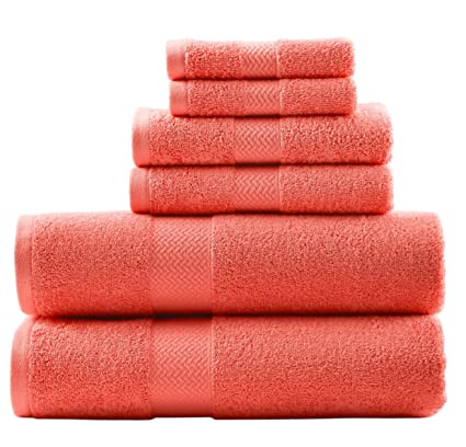 6 Piece Deep Coral Coastal Cypress Baby Towel Set With 30 X 54 Inches Long Bath