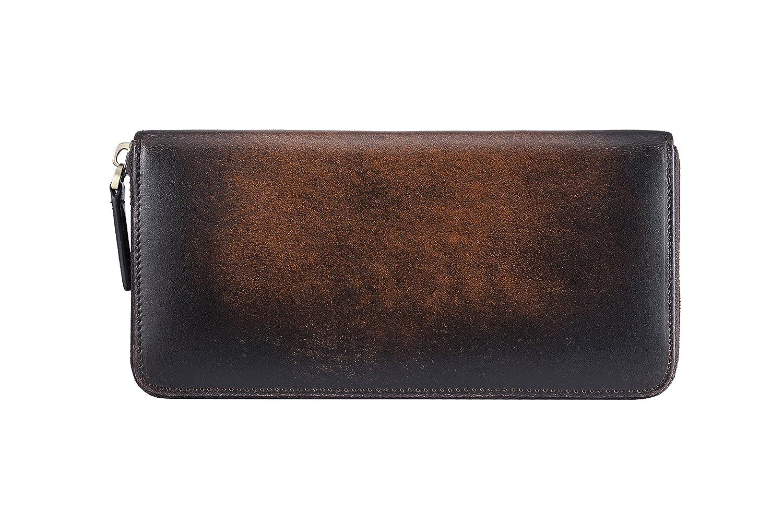 イタリアンレザー 紳士上品 メンズなが財布薄い財布長財布 薄いデザイン厚み感がない 独特のデザイン インベリアルチョコ メンズ 大容量財布 メンズ 大容量紳士財布 財布 カード 大容量 専用のギフトボックスあり プレゼント用可 B079NPGWQ4