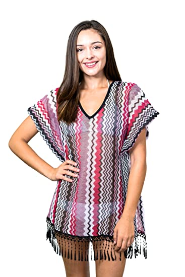 4a75b7d4152 Miken Sales Inc. Junior's Knitted Crochet Poncho Swim Cover UP, Black  Sangria, X-Small at Amazon Women's Clothing store: