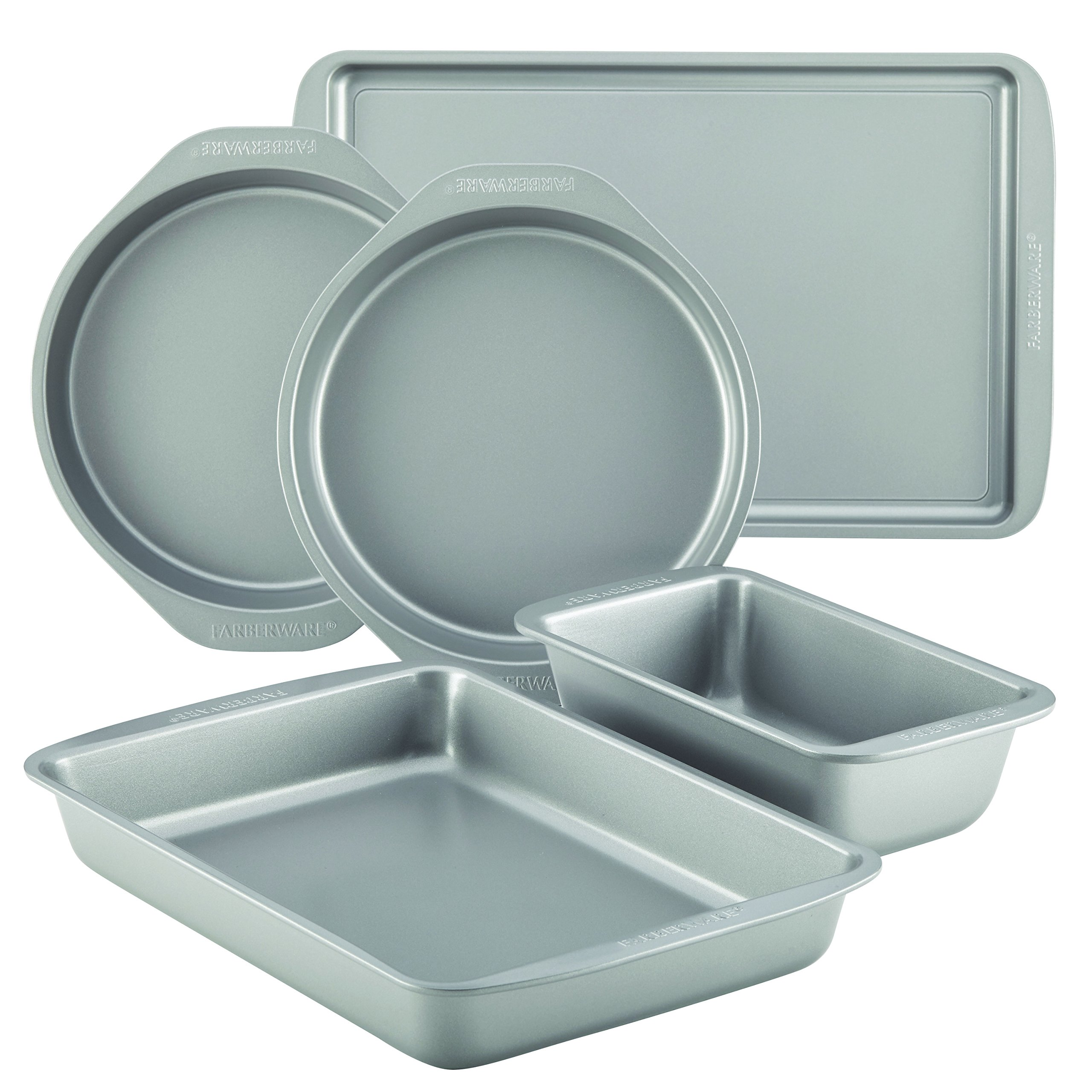 Farberware 46404 Nonstick Bakeware 5-Piece Baking Pan Set, Gray