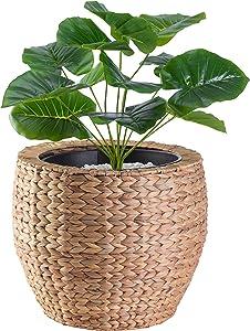 Vintiquewise QI003547.L Water Hyacinth Round Floor Planter with Metal Pot, Large, Brown