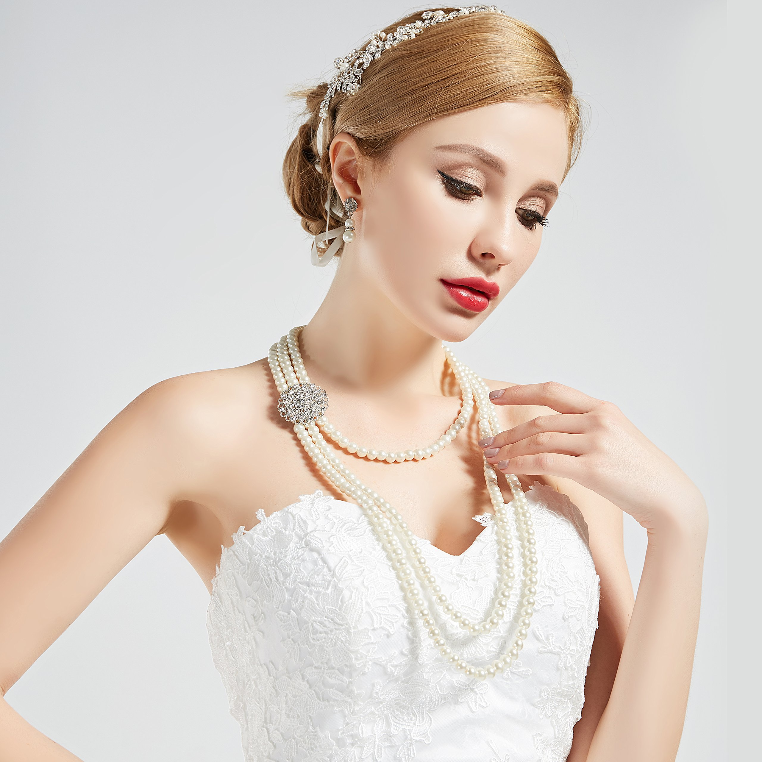 BABEYOND 1920s Gatsby Pearl Necklace Vintage Bridal Pearl Necklace Earrings Jewelry Set Multilayer Imitation Pearl Necklace with Brooch (Style 1) by BABEYOND (Image #6)