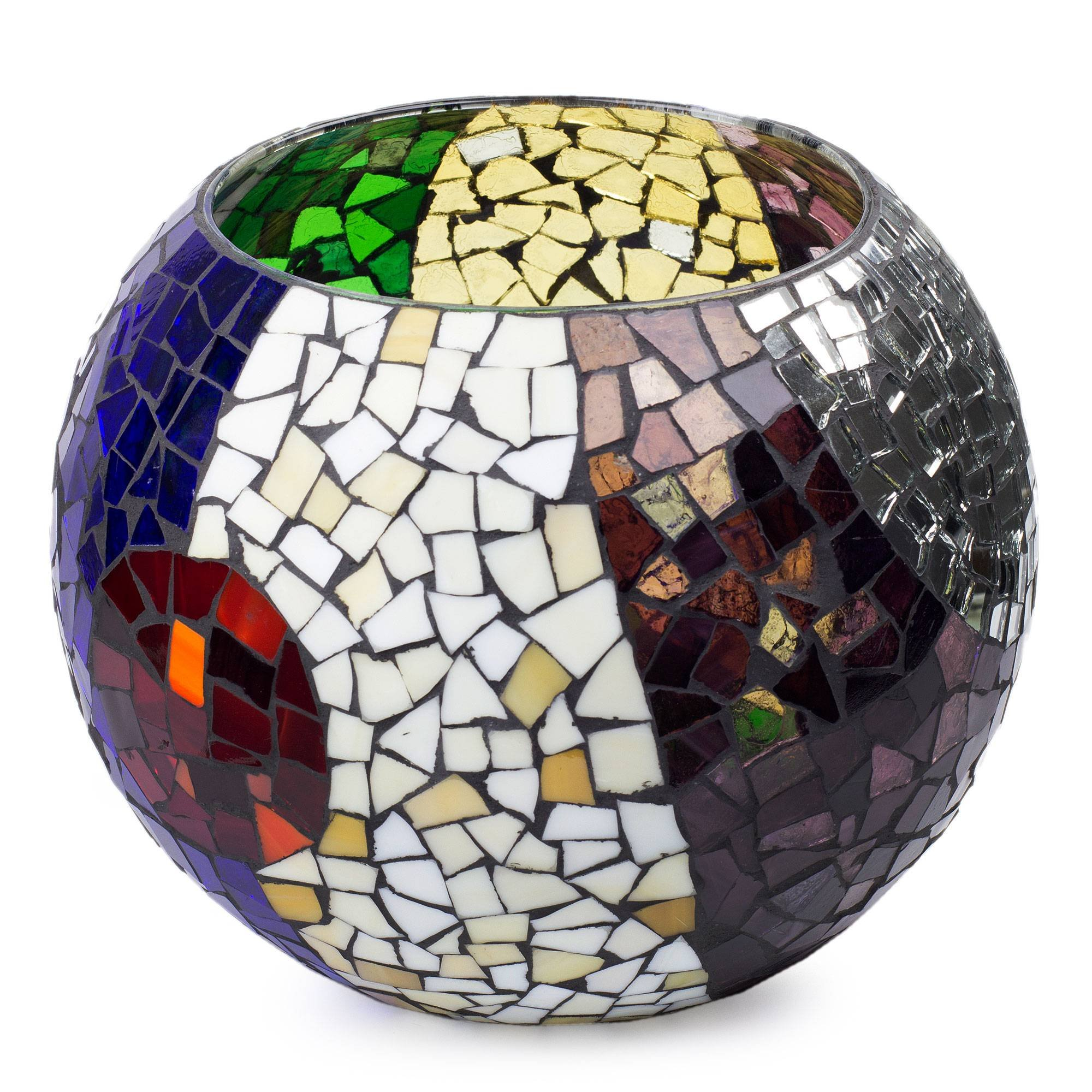 NOVICA Mosaic Lunar Rainbow' (Extra Large) Stained Glass tealight Candleholder