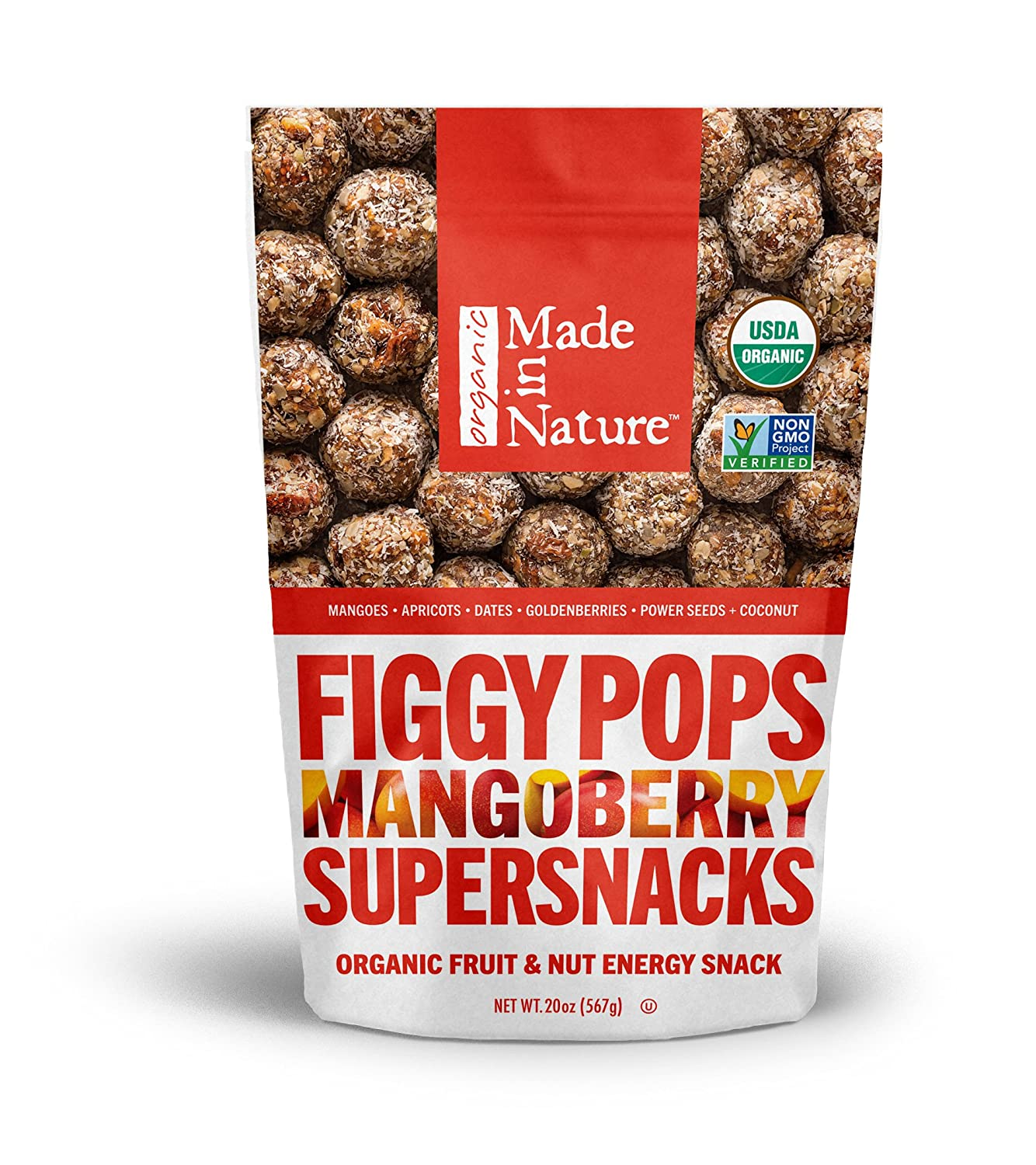 Made In Nature Organic Super Snacks, Figgy Pops (Mangoberry, 20 Ounce)