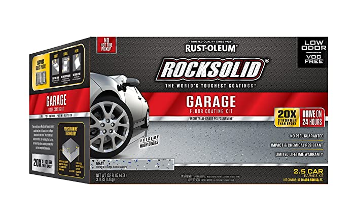 Rust-Oleum 293513 RockSolid Polycuramine 2.5 Car Garage Floor Kit, Gray