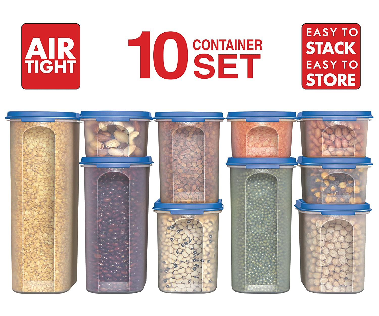 Pantry Food Storage Containers: Food Storage Containers 20 Piece Set Airtight Dry Lids