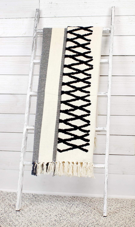 AuldHome Boho Farmhouse Throw, Black and Off White 50 x 60 Inch Striped Blanket