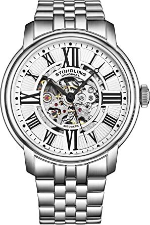 aa87901c3 Image Unavailable. Image not available for. Color: Stuhrling Original Men's  812.01 Atrium Automatic Skeleton Stainless Steel Watch