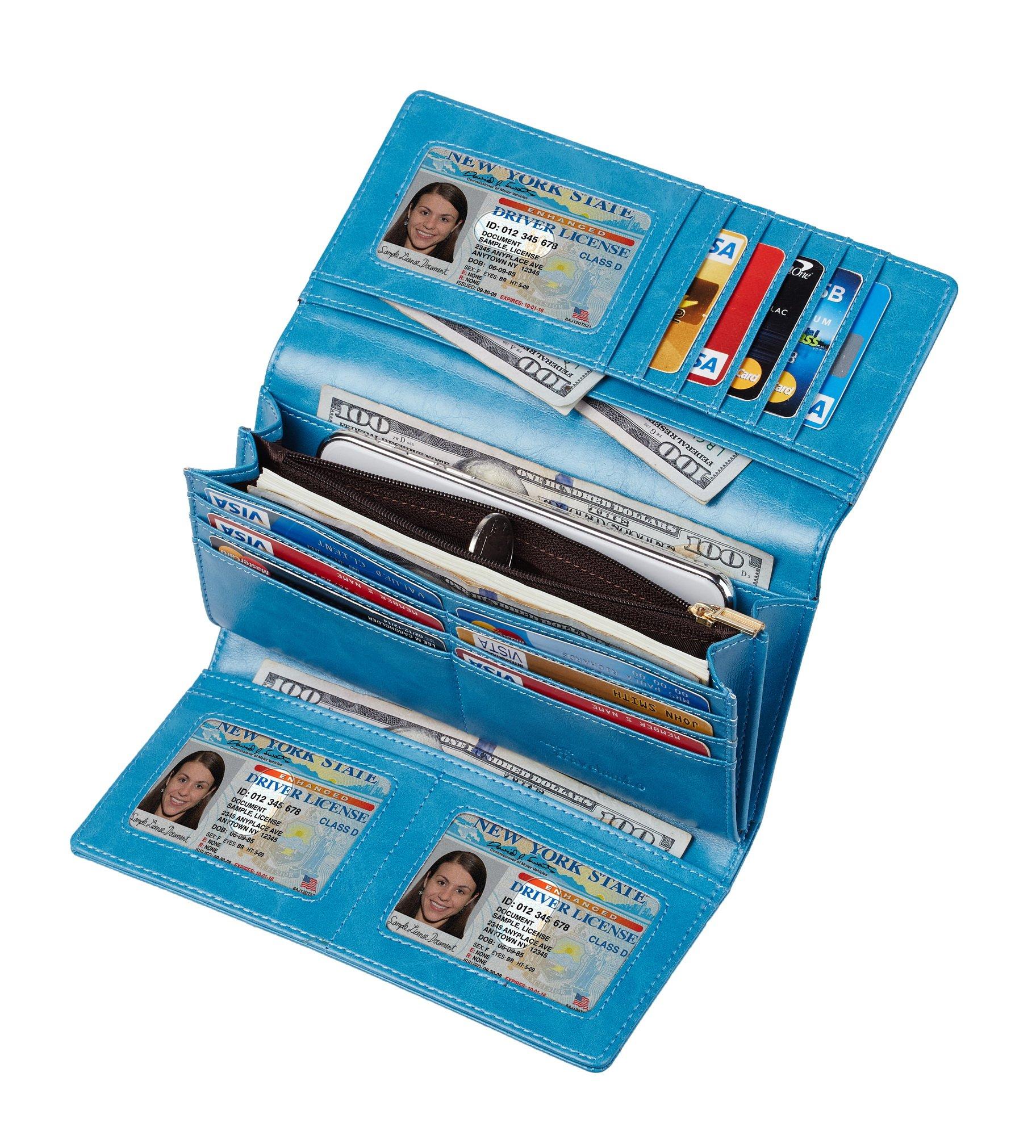 Travelambo Womens RFID Blocking Wallet Trifold Ladies Luxury Leather Clutch Travel Purse (wax blue)