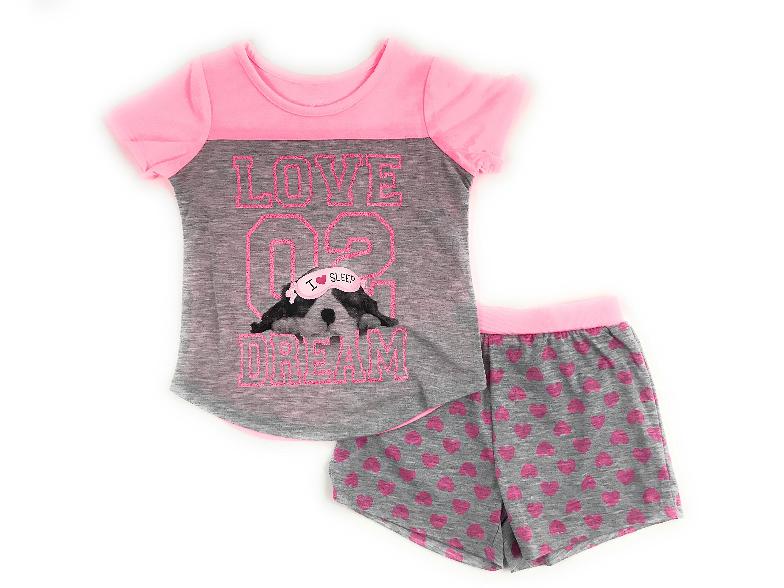 Girls Graphic Short Sleeve Top and Shorts 2-Piece Pajamas, Unicorn, Cat, Dog, Mermaid Styles (X-Small (4/5), Puppy Dreams)