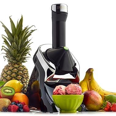 Yonanas 987 Elite Powerful Quiet Healthy Dessert Fruit Soft Serve Maker Includes 130 Recipe Book Creates Fast Easy Delicious Dairy Free Vegan Alternatives to Ice Cream or Frozen Yogurt BPA Free, Black