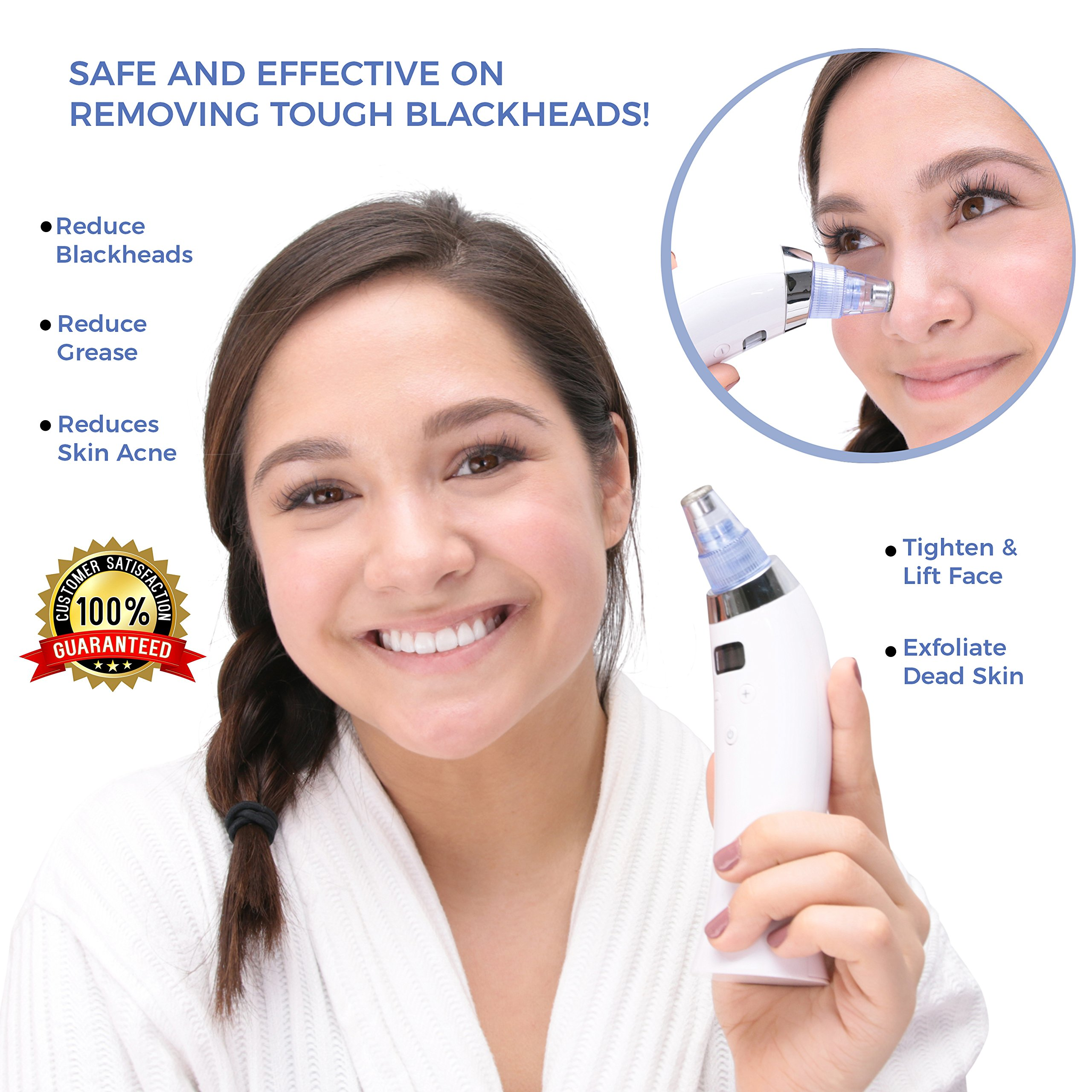 Blackhead Remover Vacuum Suction Pore Cleaner   Electric Blackheads Acne Skin Cleanser and Blackhead Tool   Comedone Kit Microdermabrasion LED Device   Facial Treatment Women Men