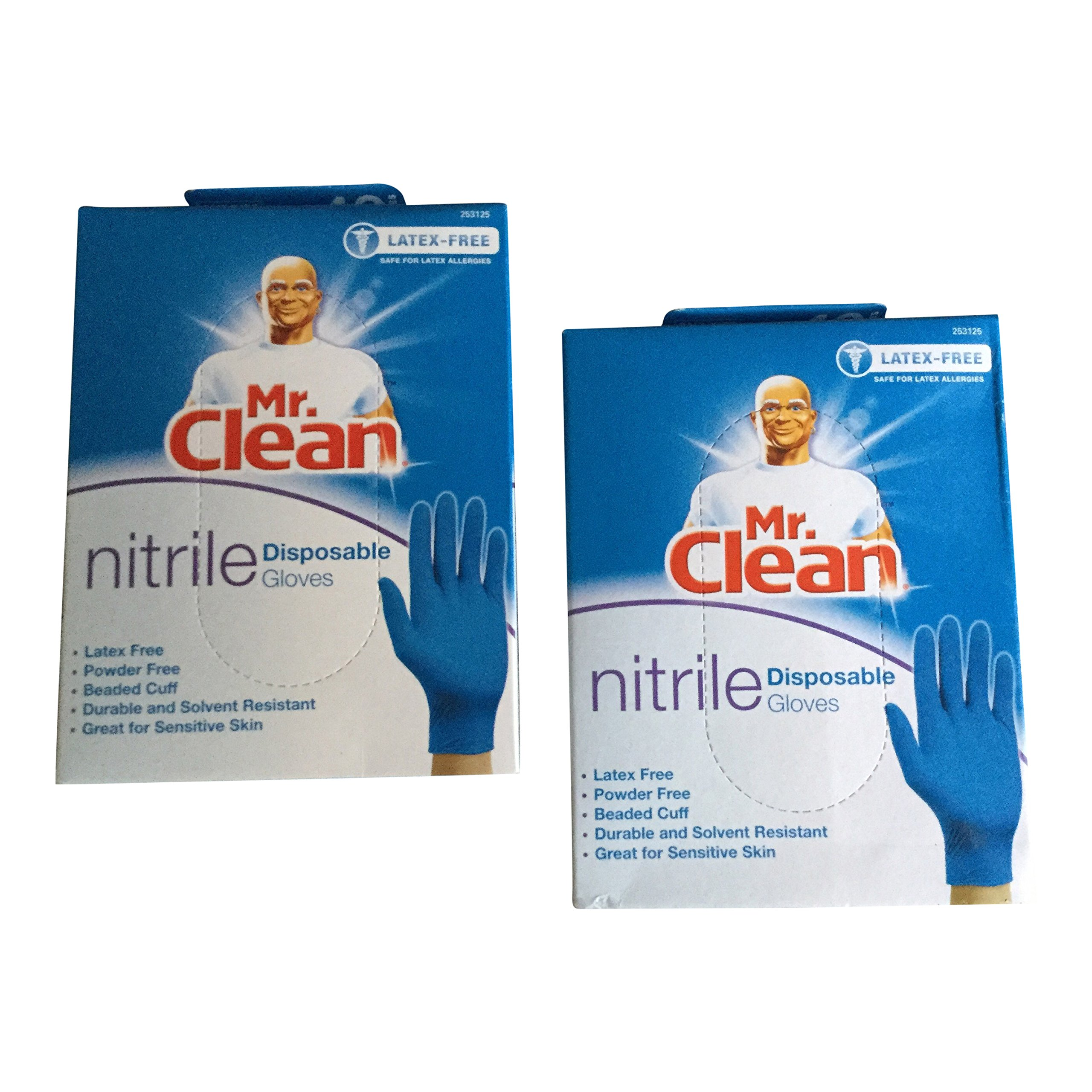 Mr. Clean Nitrile Disposable Gloves Latex Free & Powder Free (40 Gloves Per Box) (Pack of 2 Boxes)