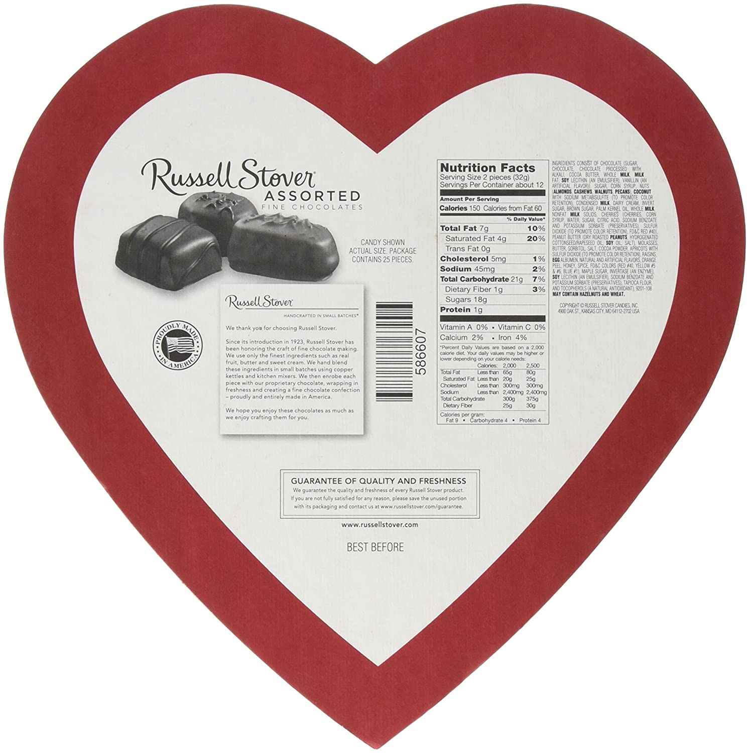 Amazoncom Russell Stover Red Foil Heart Assorted Chocolates 14
