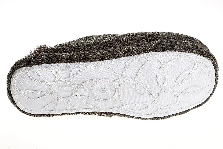 gibra Pantuflas para mujer con suela blanca, forrado, color gris oscuro, talla 36