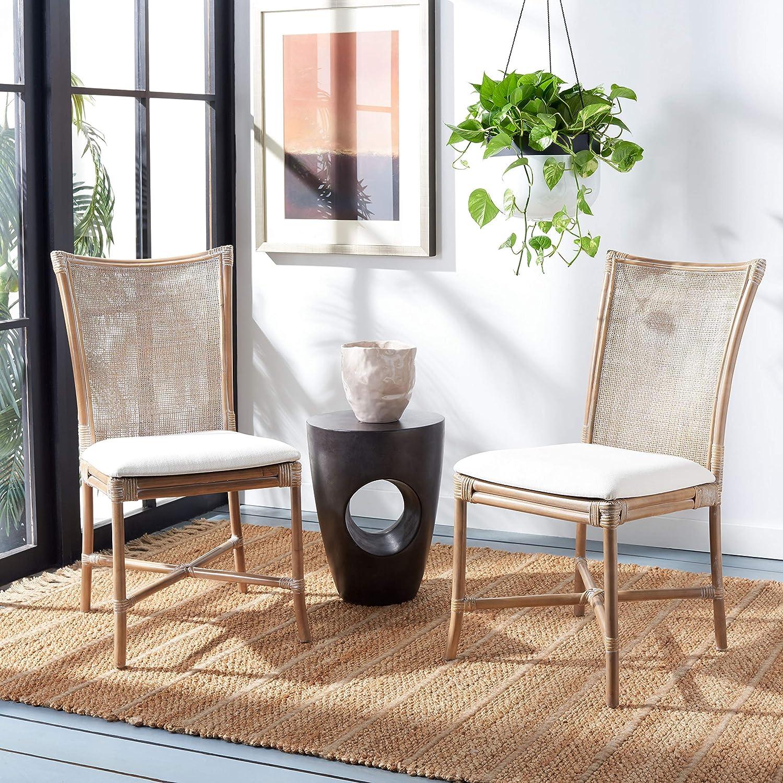 Safavieh Home Collection Chiara Grey Wash Rattan White Cushion (Set of 2) Accent Chair