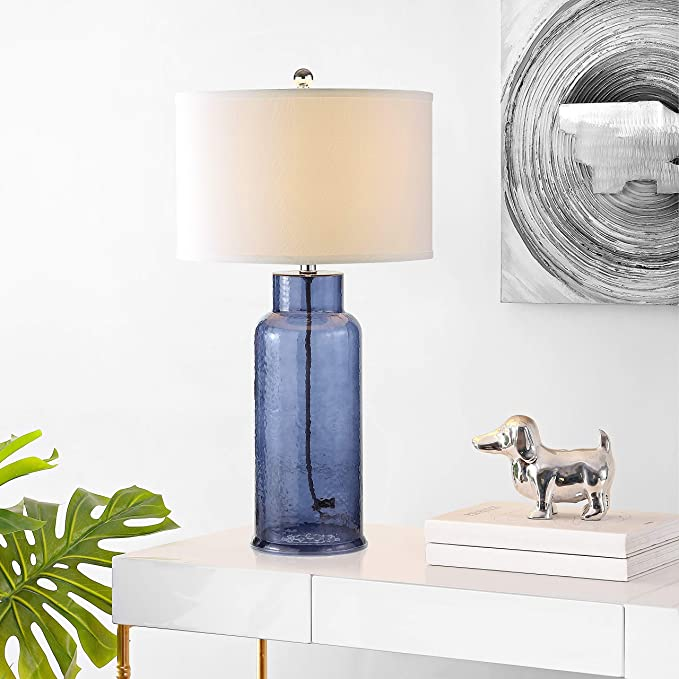 Amazon Com Safavieh Lighting Collection Bottle Glass Blue 29 Inch Table Lamp Set Of 2 Home Kitchen