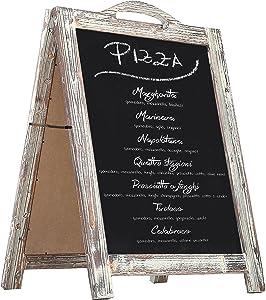 MyGift 2-Sided Torched Wood A-Frame Chalkboard Sign, Sidewalk Cafe Menu Sandwich Board