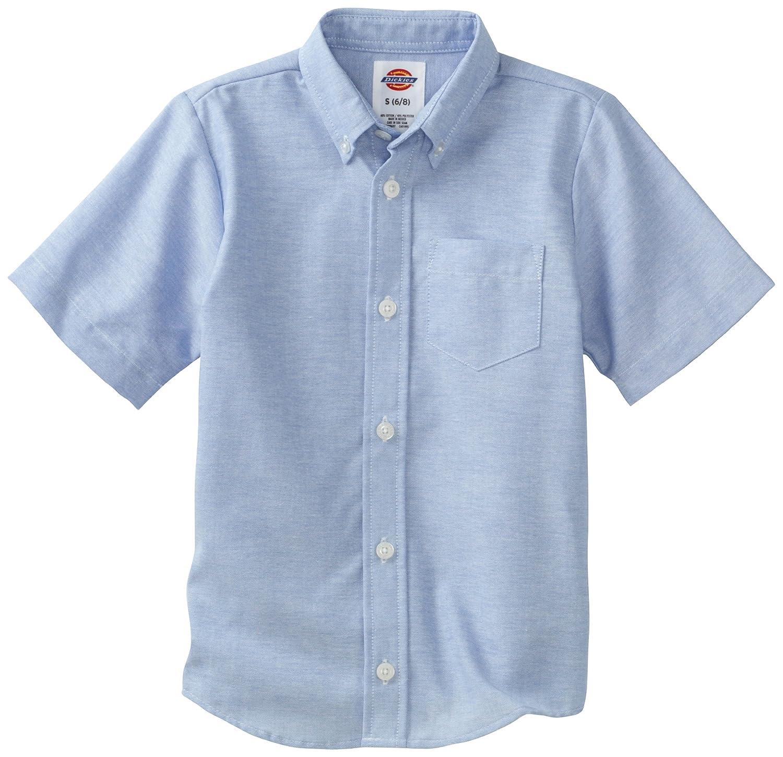 XS Light Blue Dickies Boys Short Sleeve Wrinkle Resistant Oxford Shirt