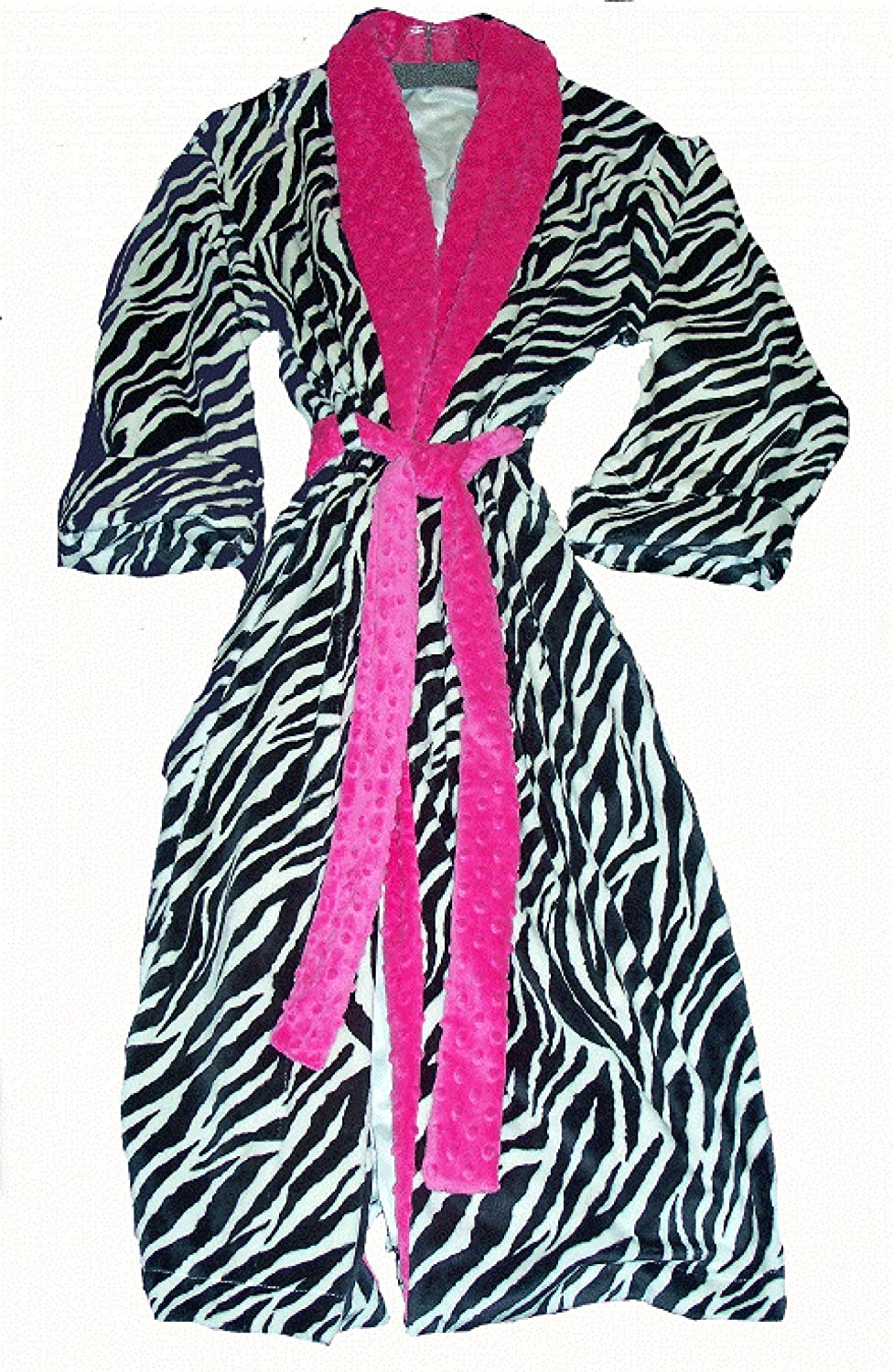 Super Soft Minky Ladies Zebra Robe with Fuchsia Trim by Love and Lace