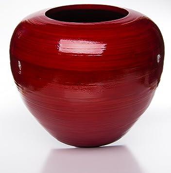 Bambus Deko Vase Chic Rot H 22 Cm O 25 Cm Amazon De Kuche