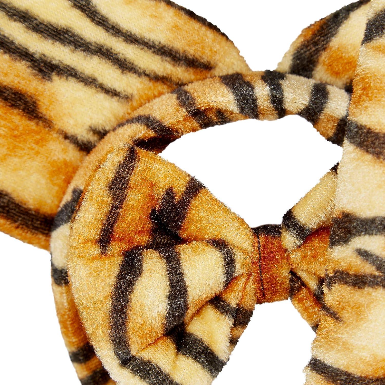 Marr/ón Poli/éster Relaxdays Orejas Tigre Set de 3 Uds Pajarita y Cola Para Ni/ños y Adulto Diadema Disfraz Carnaval
