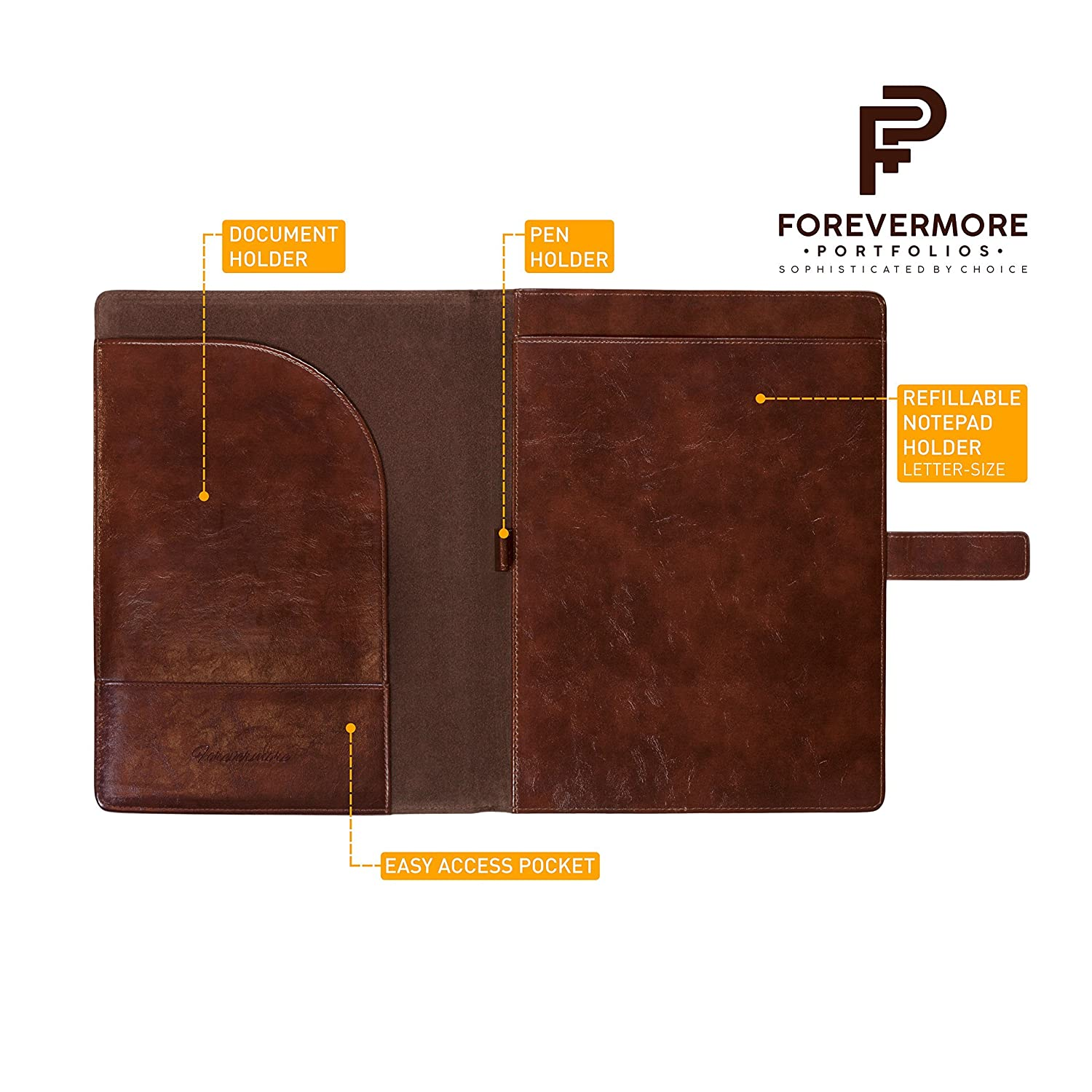 Amazon Com Forevermore Leather Portfolio Padfolio
