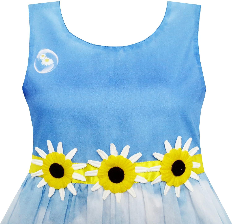 Sunny Fashion Vestido para ni/ña Girasol Burbuja Lirio Flor Jard/ín Impresi/ón 4-12 a/ños