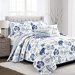 Lush Decor Harbor Life 7 Piece Quilt Set, Indigo, King
