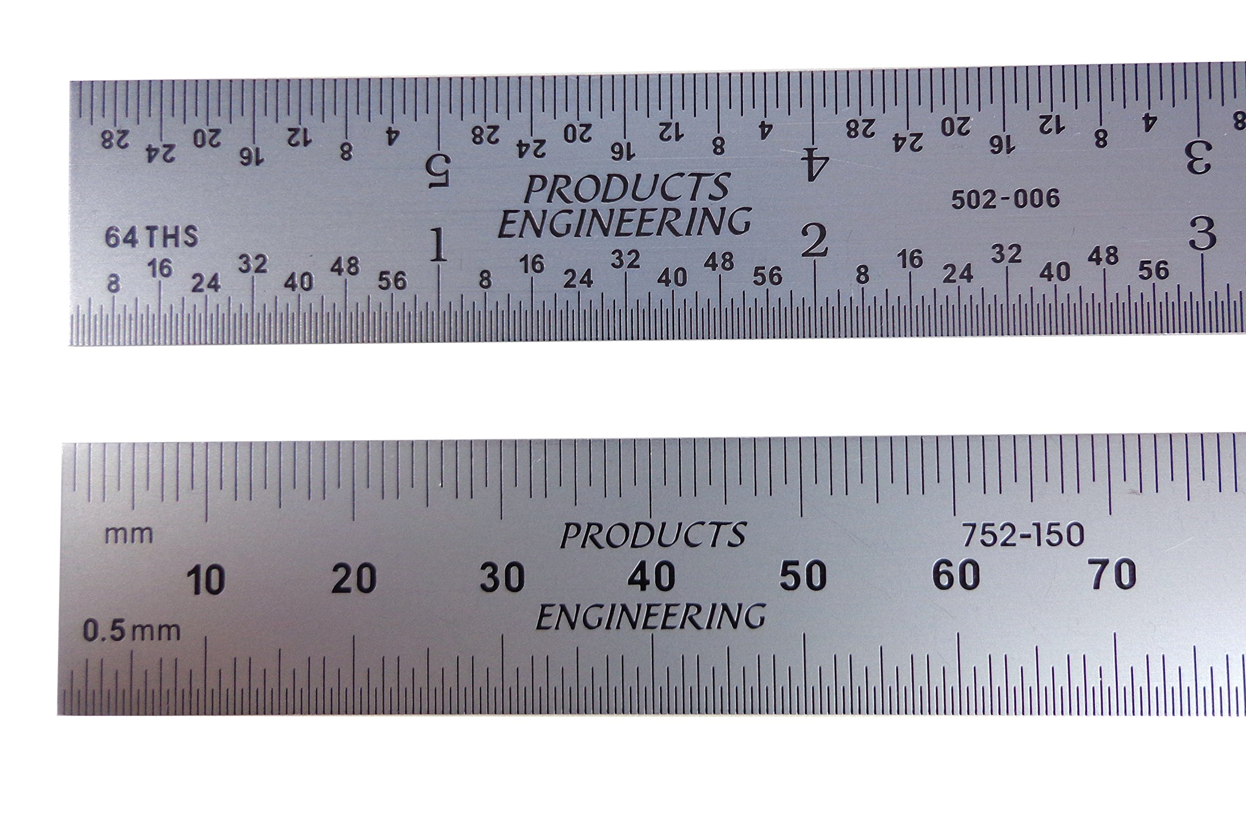 PEC Tools 262-006 6'' Inch/MM USA Rigid Steel Rule, reads 32nds, 64ths, 1mm, 1/2mm. by PEC Tools