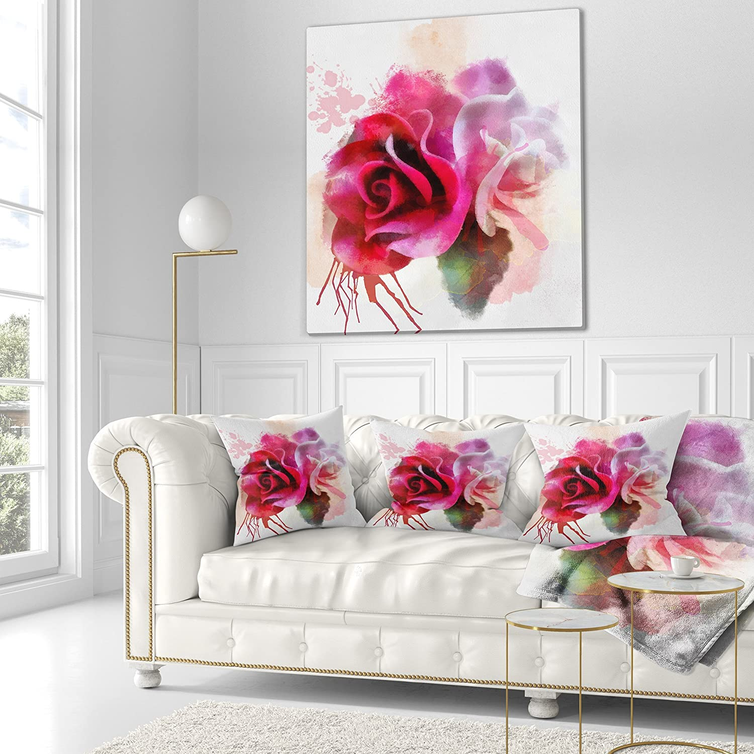 Designart Cu13667 18 18 White Red Roses With Color Splashes Floral Throw Cushion Pillow Cover For