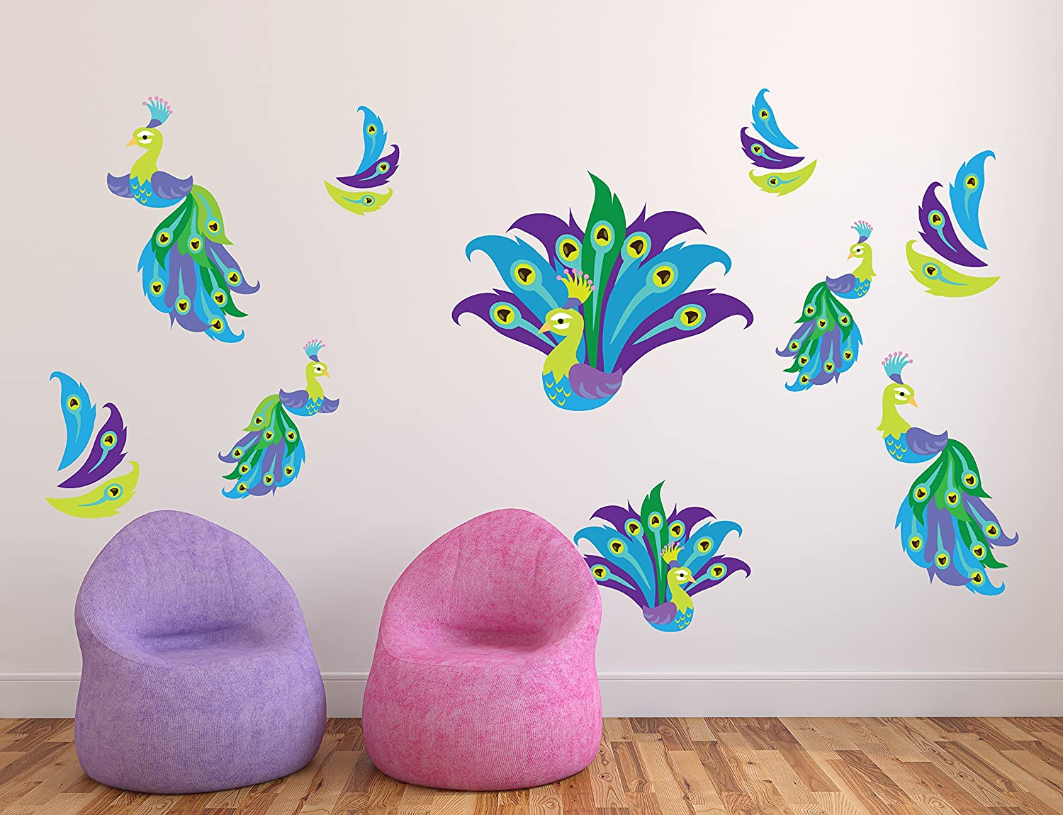 Amazon peacock wall stickers peacock feather wall dcor amazon peacock wall stickers peacock feather wall dcor peacock feather decorations peacock wall decals wdset10086 home kitchen amipublicfo Gallery