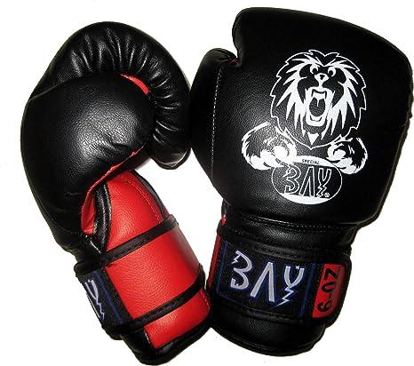 BAY® LEON Kinder Boxhandschuhe 4 6 8 10 Unzen Mini Box-Handschuhe Kids Junior Jugendliche schwarz rot UZ OZ Kinderboxhandschu