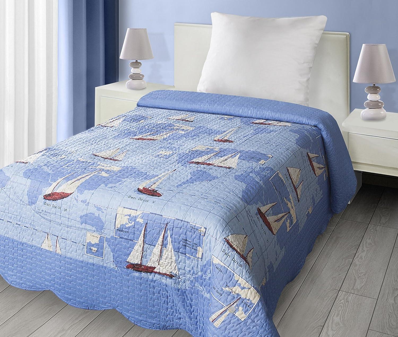 Eurofirany Modern Patchwork Bedspread Sailboat Theme Double-Sided Quilt Light Throw, Blue Import CHON/D/P/STATEK/170