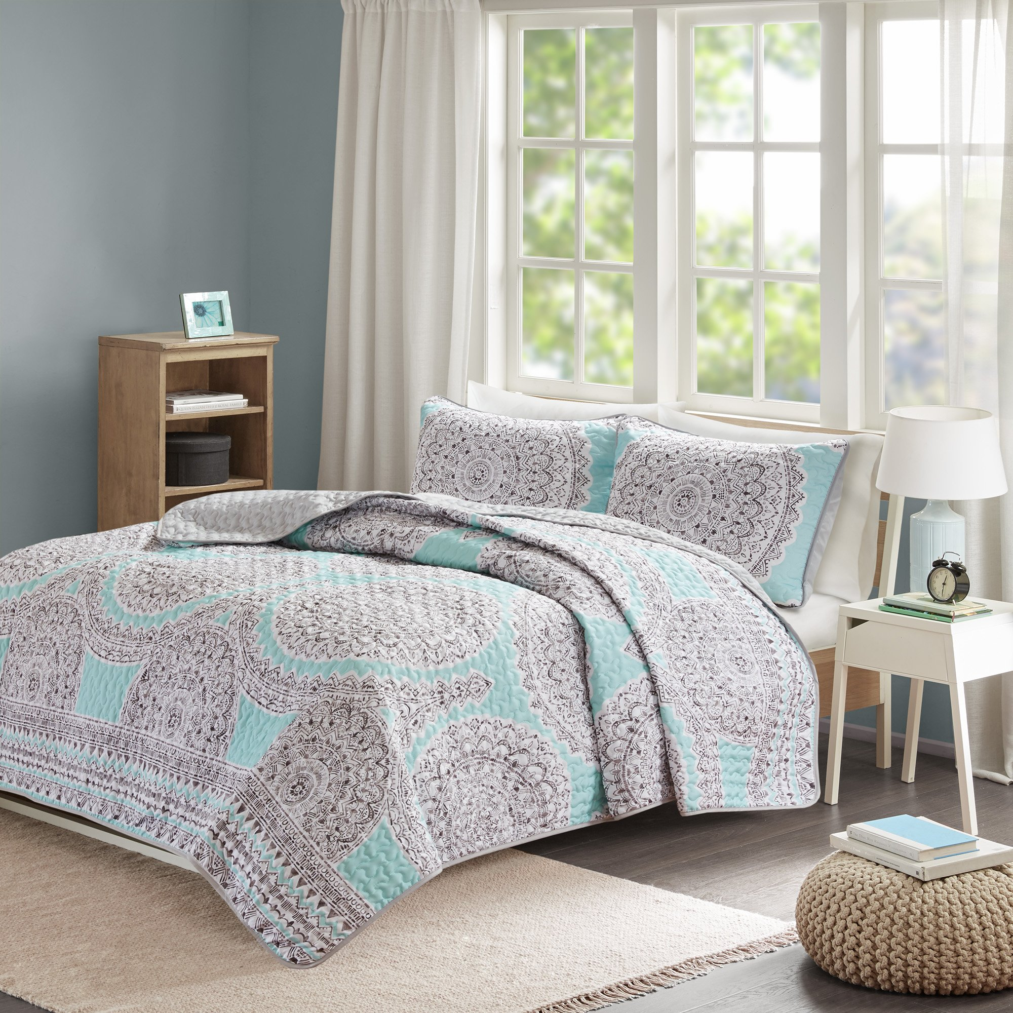 Comfort Spaces Queen Quilt/Coverlet Set - 3 Pieces - Blue/Aqua/Grey - Printed Medallions Pattern - Lightweight Spring And Summer Girls Bedding Sets Full Queen- Bedspread Set - Adele