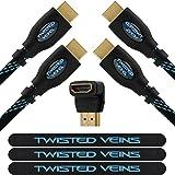 Twisted Veins 1,8 m Cable HDMI de Alta Velocidad (Paquete de 2) + Derecho Ángulo Adaptador y Tiras de Velcro para Organizar Cables (Nuevo Estándar con Ethernet, 3D y Canal de Retorno de Audio)