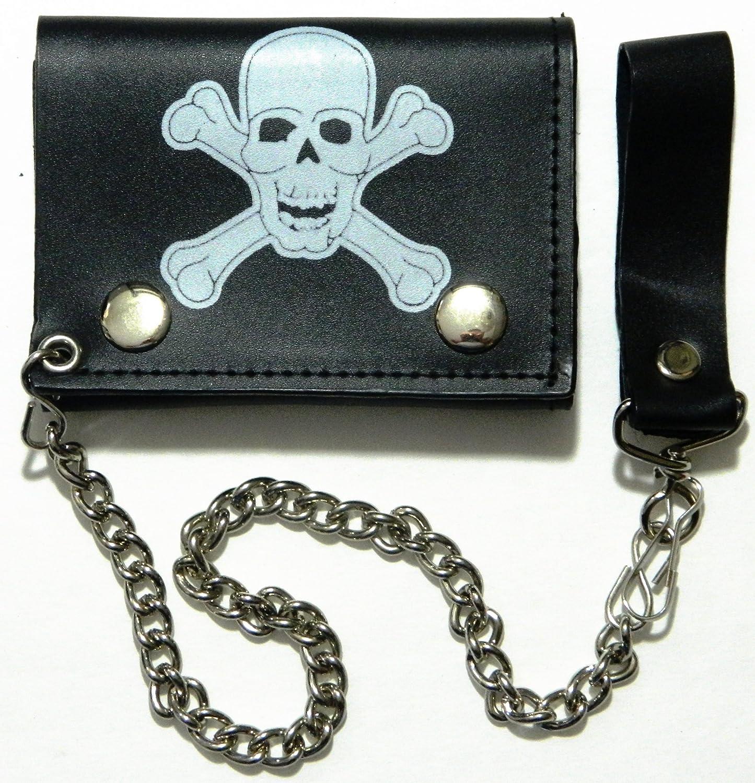 Unknown Mens Skull Cross Bone Tri-Fold Wallet With Chain Clip Pirate