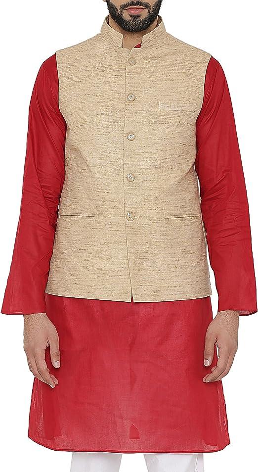 WINTAGE Herren Khadi Tailored Fit Party//Festliche indische Nehru Jacke Weste