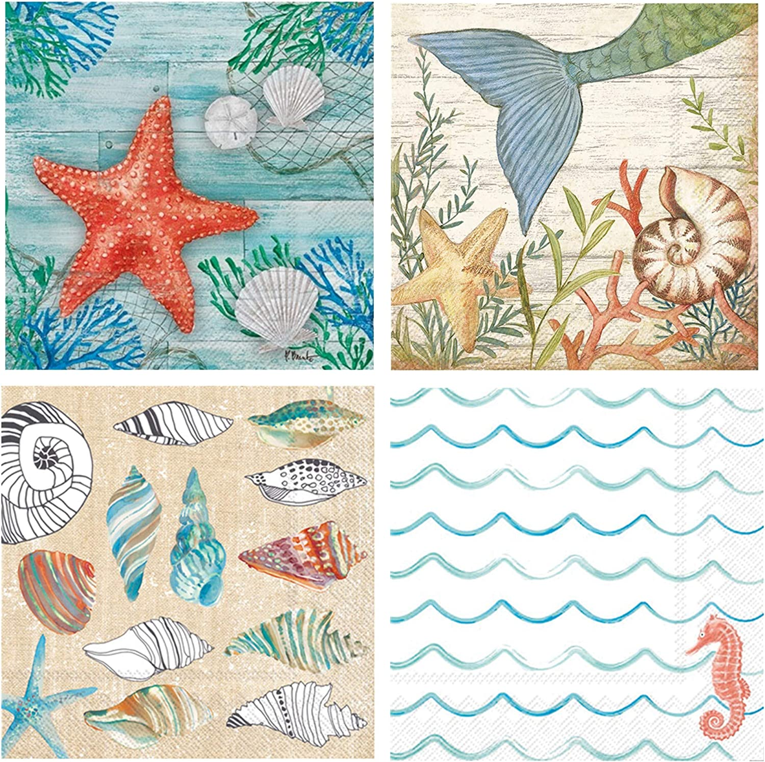 Boston International 20 Count 3-Ply Paper Cocktail Napkins, Set of 4, Starfish, Beach, Mermaid and Shell