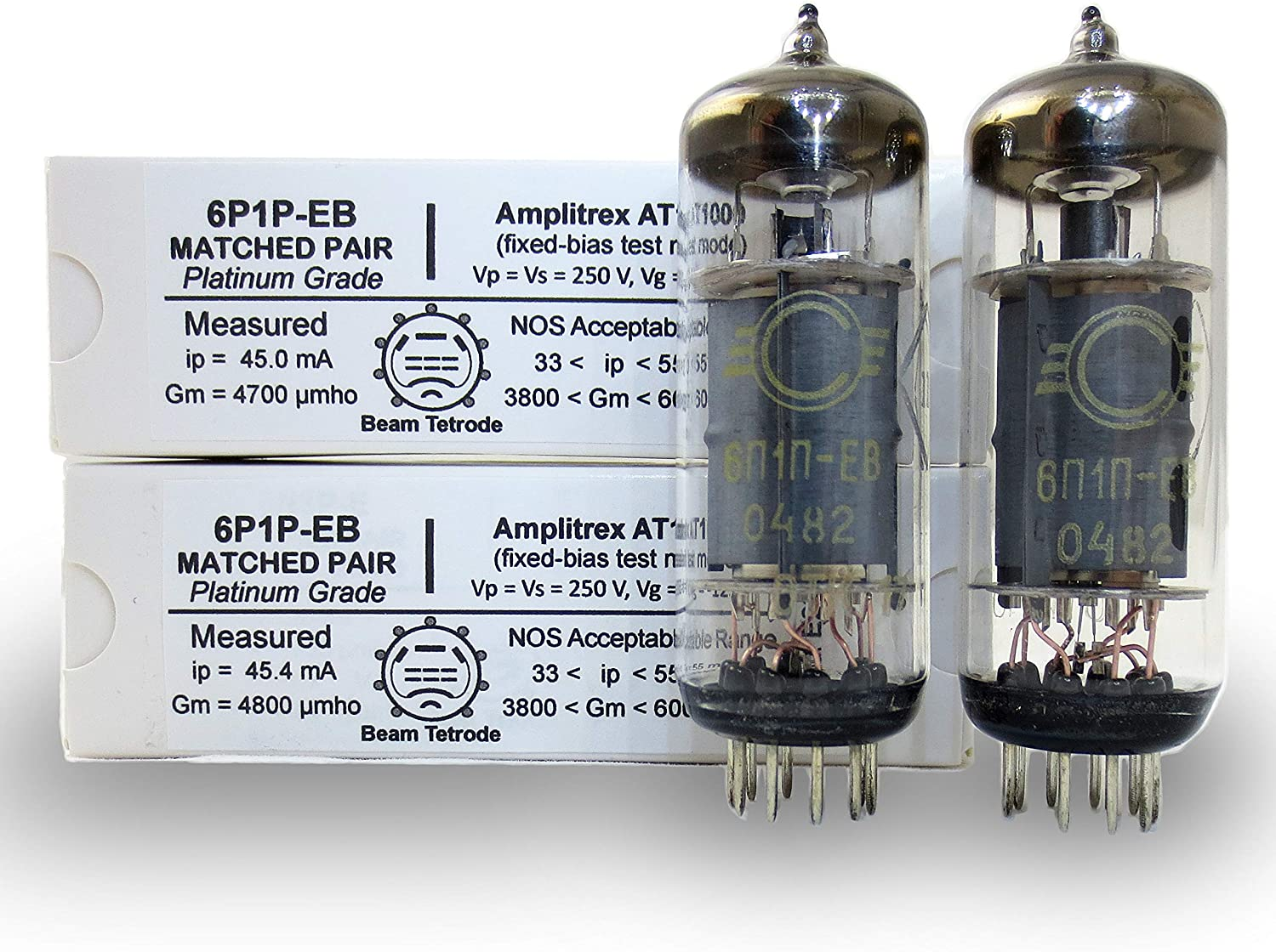 Riverstone Audio - 6P1P-EB Tested AND Matched Pair (2 tubes) - Vintage Russian Vacuum Tubes - Amplitrex Tested - Replacement for 9-PIN 6P1 / 6P1P Tubes - Platinum Grade Pair - (2 tubes) 6P1P-EB