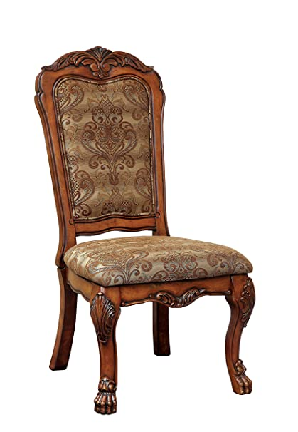 Furniture of America Victoria Fabric Upholstered Dining Side Chair, Antique  Oak - Amazon.com - Furniture Of America Victoria Fabric Upholstered Dining