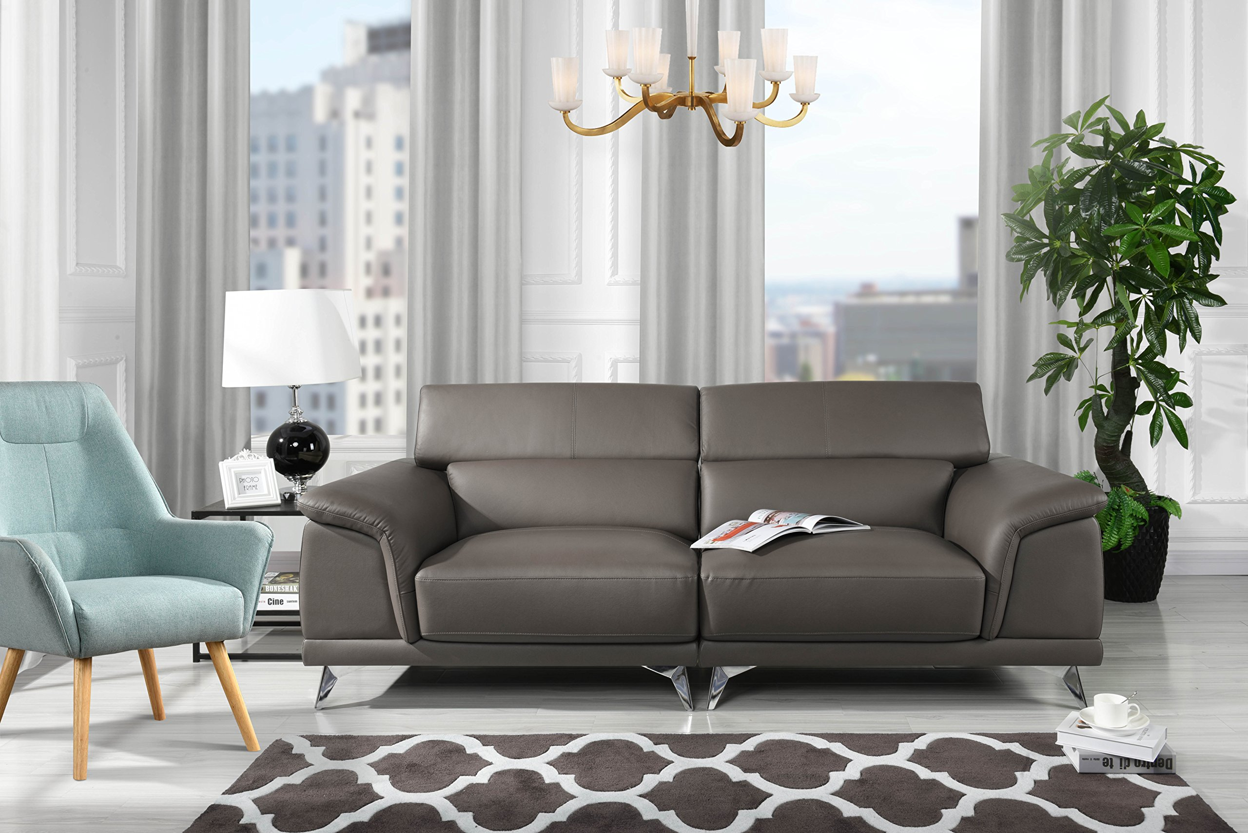 Divano Roma Furniture Modern Living Room Sofa with Adjustable Headrest (Grey) - Modern style couch featuring adjustable headrests to add a touch of modernism and functionality that is sure to make a statement. This living room sofa is upholstered in leather match on hardwood frame with steel chrome legs. Arm rests are designed to give this sofa a unique look and feel; the seats and back rest are are filled with firm foam made to last. - sofas-couches, living-room-furniture, living-room - 91j5TD6m1EL -