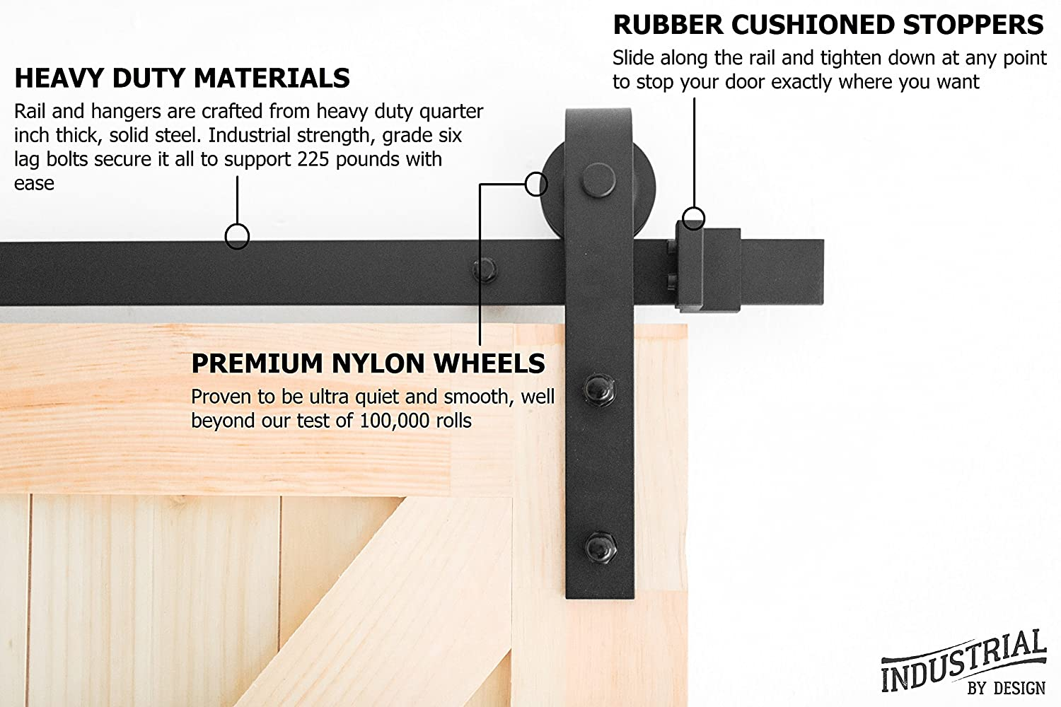 Amazon com industrial by design 8ft heavy duty sliding barn door hardware kit 100 steel one piece rail ultra smooth and quiet easy installation