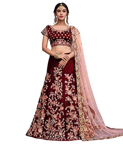 153cd8cd17d3 MEGHALYA Bridal Collection Maroon Floral Embroidered velvet  net Lehenga  choli with Dupatta set for women(AD745