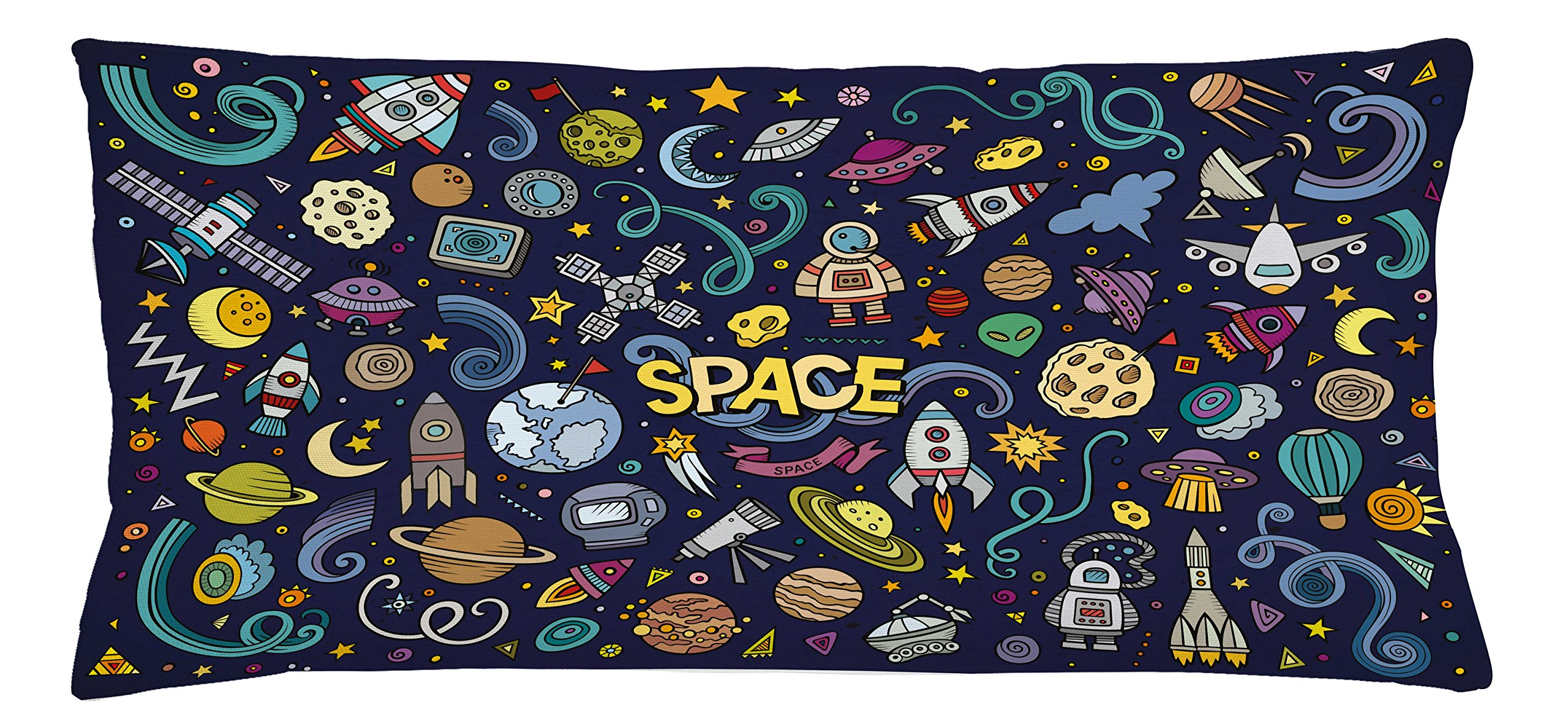 Lunarable Boy's Room Throw Pillow Cushion Cover, Hand Drawn Doodles About Space and Astronauts on a Night Blue Background Artwork, Decorative Square Accent Pillow Case, 36 X 16 inches, Night Blue