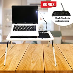 Sunny Gx Foldable Laptop Table - Laptop Desk for Bed, 4 Different Height Adjustments, 2 Cooling Fan, LED Light With Brightness Control, Foldable Bed Desk For Laptop, Writing in Sofa,Couch Wood, White
