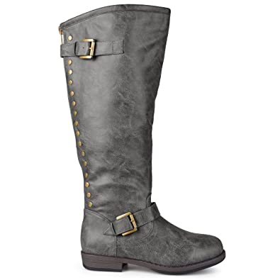 ac66f6ea7 Brinley Co. Womens Extra Wide Calf Knee-high Studded Riding Boots Dark Grey,